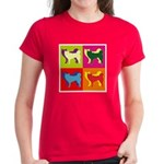 Siberian Husky Silhouette Pop Art Women's Dark T-S