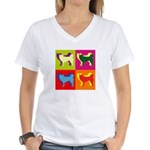 Siberian Husky Silhouette Pop Art Women's V-Neck T