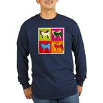 Siberian Husky Silhouette Pop Art Long Sleeve Dark