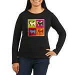 Siberian Husky Silhouette Pop Art Women's Long Sle