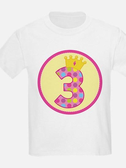 3rd Birthday Princess Crown T-Shirt