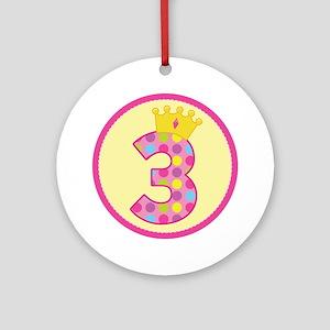 3rd Birthday Princess Crown Ornament (Round)
