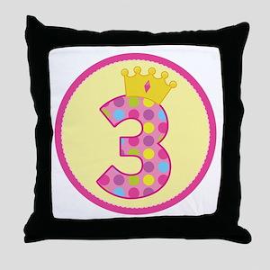 3rd Birthday Princess Crown Throw Pillow