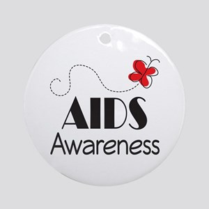 Butterfly AIDS Awareness Ornament (Round)
