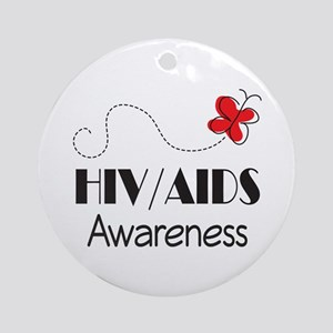 HIV/AIDS Awareness Butterfly Ornament (Round)