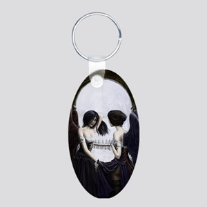 Skull Illusion Aluminum Oval Keychain