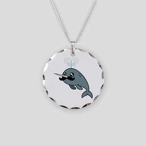 Narwhalstache Necklace Circle Charm