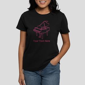 Pink Piano and Custom Text. Women's Dark T-Shirt