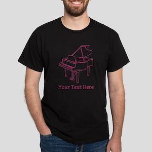 Pink Piano and Custom Text. Dark T-Shirt
