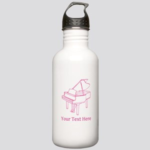 Pink Piano and Custom Text. Stainless Water Bottle