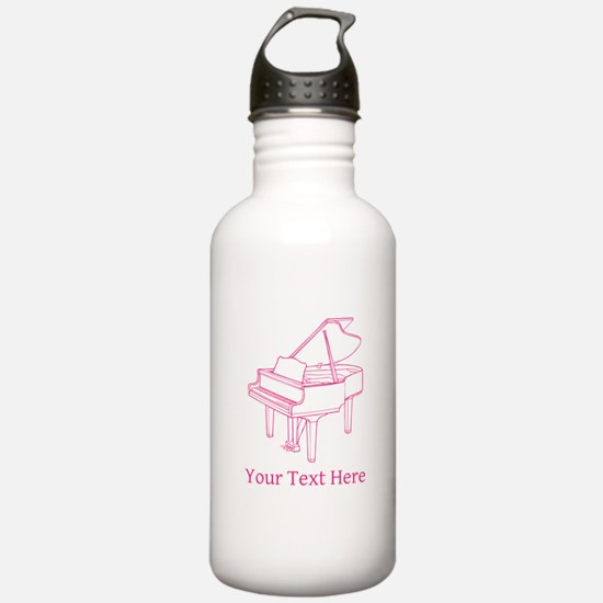 Pink Piano and Custom Text. Water Bottle
