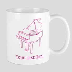 Pink Piano and Custom Text. Mug