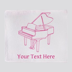 Pink Piano and Custom Text. Throw Blanket