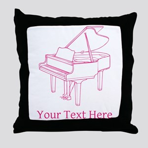 Pink Piano and Custom Text. Throw Pillow
