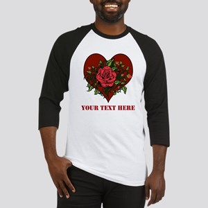 Red Roses, Heart and Text. Baseball Jersey