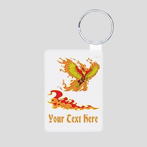 Phoenix and Custom Text. Aluminum Photo Keychain