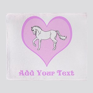 Horse and Pink Heart and Text Throw Blanket