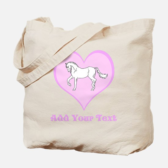 Horse and Pink Heart and Text Tote Bag