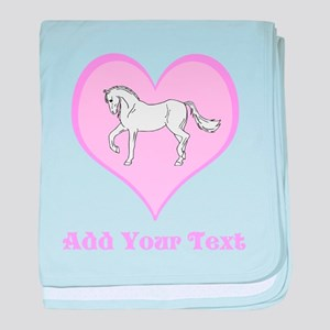 Horse and Pink Heart and Text baby blanket