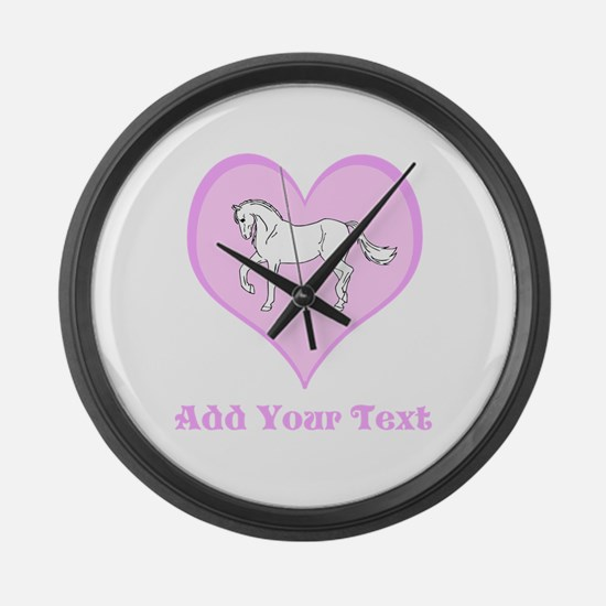 Horse and Pink Heart and Text Large Wall Clock