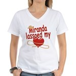 Miranda Lassoed My Heart Women's V-Neck T-Shirt