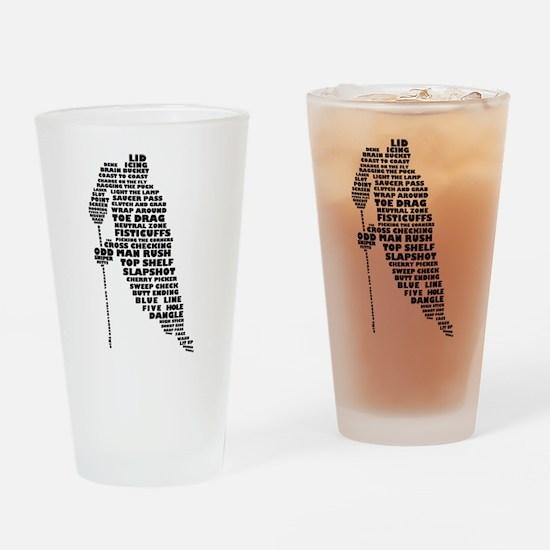 Language of Hockey (skater) Drinking Glass