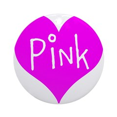 I Heart Pink Ornament (Round)