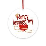 Nancy Lassoed My Heart Ornament (Round)