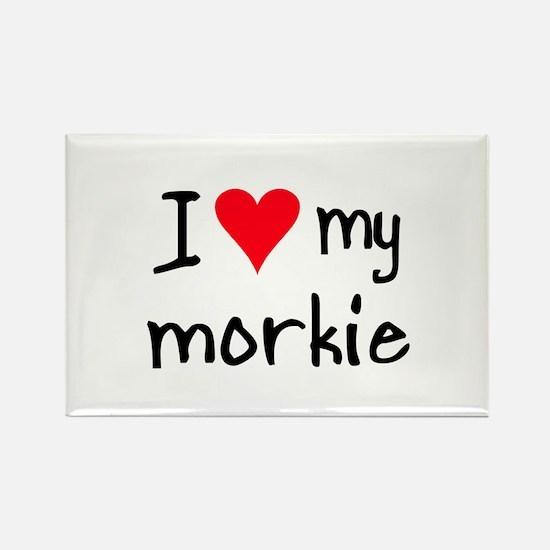 I LOVE MY Morkie Rectangle Magnet