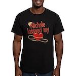 Nichole Lassoed My Heart Men's Fitted T-Shirt (dar