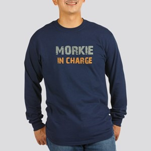 Morkie IN CHARGE Long Sleeve Dark T-Shirt