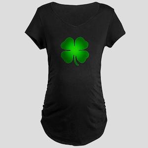 Four Leaf Clover Maternity Dark T-Shirt