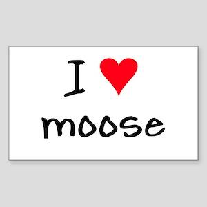 I LOVE Moose Sticker (Rectangle)