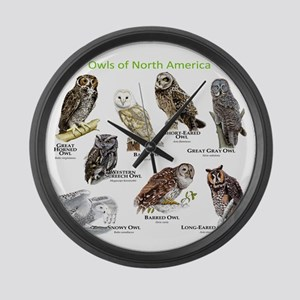 Owls of North America Large Wall Clock
