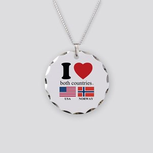USA-NORWAY Necklace Circle Charm
