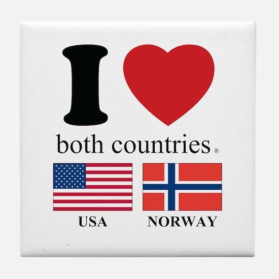 USA-NORWAY Tile Coaster