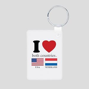 USA-NETHERLANDS Aluminum Photo Keychain