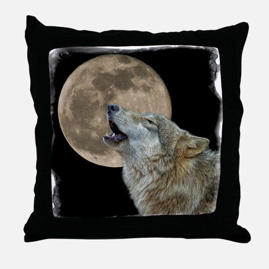 Cool Howling wolf Throw Pillow
