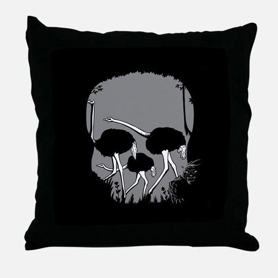 Forest Ostriches Skull Throw Pillow