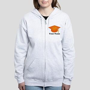 Personalized Orange Graduation Hat Women's Zip Hoo
