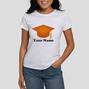 Personalized Orange Graduation Hat Women's T-Shirt