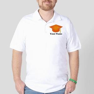 Personalized Orange Graduation Hat Golf Shirt