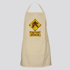 Hockey Goalie Caution Sign Apron