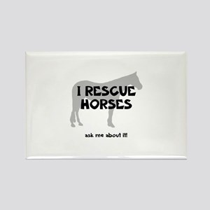 I RESCUE Horses Rectangle Magnet