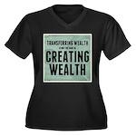 Creating Wealth Women's Plus Size V-Neck Dark T-Sh
