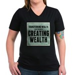 Creating Wealth Women's V-Neck Dark T-Shirt