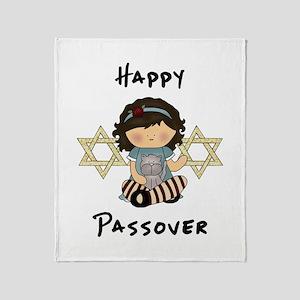 Happy Passover Girl Throw Blanket
