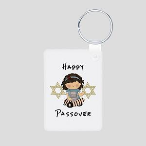 Happy Passover Girl Aluminum Photo Keychain