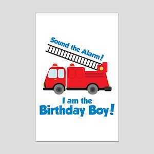 Firetruck Birthday Boy Mini Poster Print