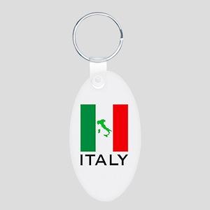 italy flag 01 Aluminum Oval Keychain